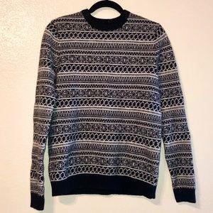 ASOS Black White Pattern Lambswool Sweater M